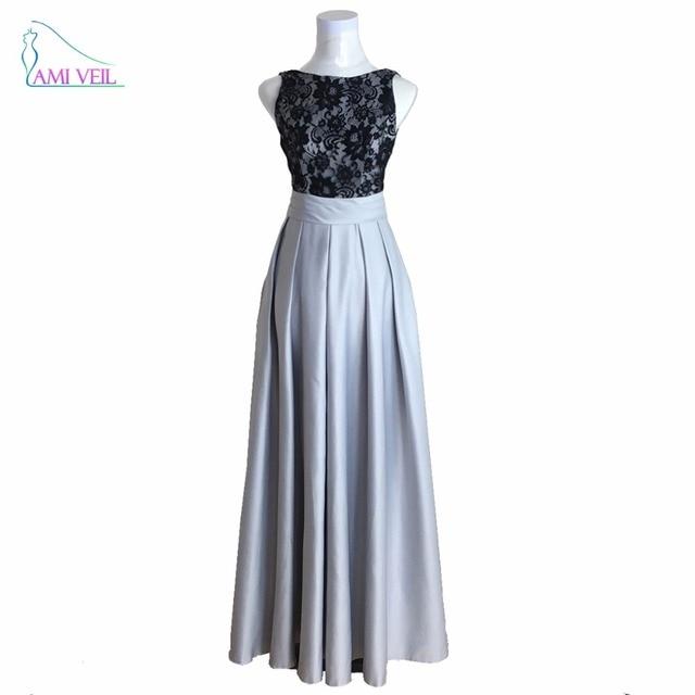 Lange Spitze Kleider Schwarzen Abendkleid Kleid Silber Prom Kleider ...