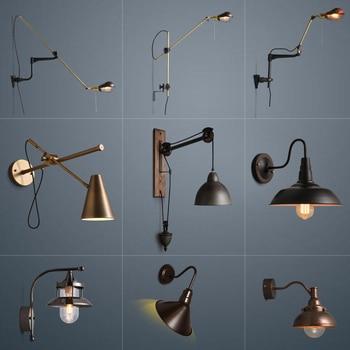 American vintage Iron loft industrial wall lamp indoor lighting bedside lamps wall lights for home 110V/220V E27 Edison Bulb