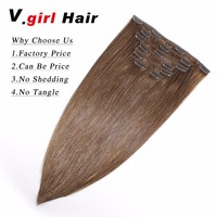 Clip In Human Hair Extensions Straight Full Head Set 7pcs 100G 200G Machine Made Remy Hair Clip Ins 100% Human Hair Extention 6#