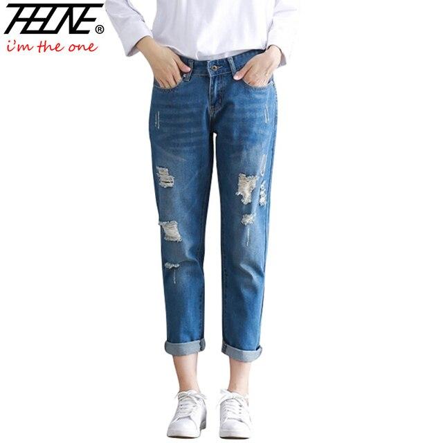 97fe2b10f2939 2017 Ripped Boyfriend Jeans Women Casual Trousers Denim Pants Slim Fit  Loose Mid Waist Plus Size 3XL Hole Torn Jeans Pants Femme