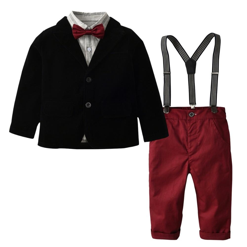 Toddler Kids Boys Gentlemen Suit Stripe Long Sleeve Bow Tie Shirt Suspender Pants Outfits Set
