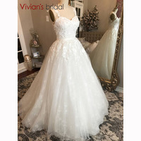White Lace A Line Wedding Dress Floor Length Chapel Train Spaghetti Straps Sweetheart Bridal Gowns
