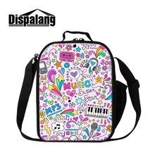 Dispalang costomized дизайн обед сумки для девочек симпатичные музыка mp3 печати кулер мешки для детей упаковки пищевых продуктов, мешки розничная