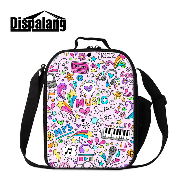 Dispalang costomized design lunch bags for girls cute music mp3 printing cooler bags for children women food packing bags retail