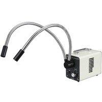 AmScope 20 W LEVOU Luzes De Fibra Óptica Dupla Gooseneck Iluminador Microscópio LED-20WY