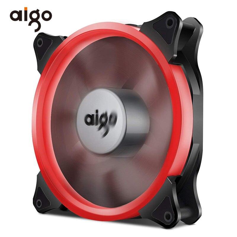 Aigo 12 V 12 V de la computadora de la PC ventilador 4 PIN silencio disipador de calor de enfriamiento del refrigerador Anti-vibración de goma de 140mm ventiladores LED radiador de 7 aspas