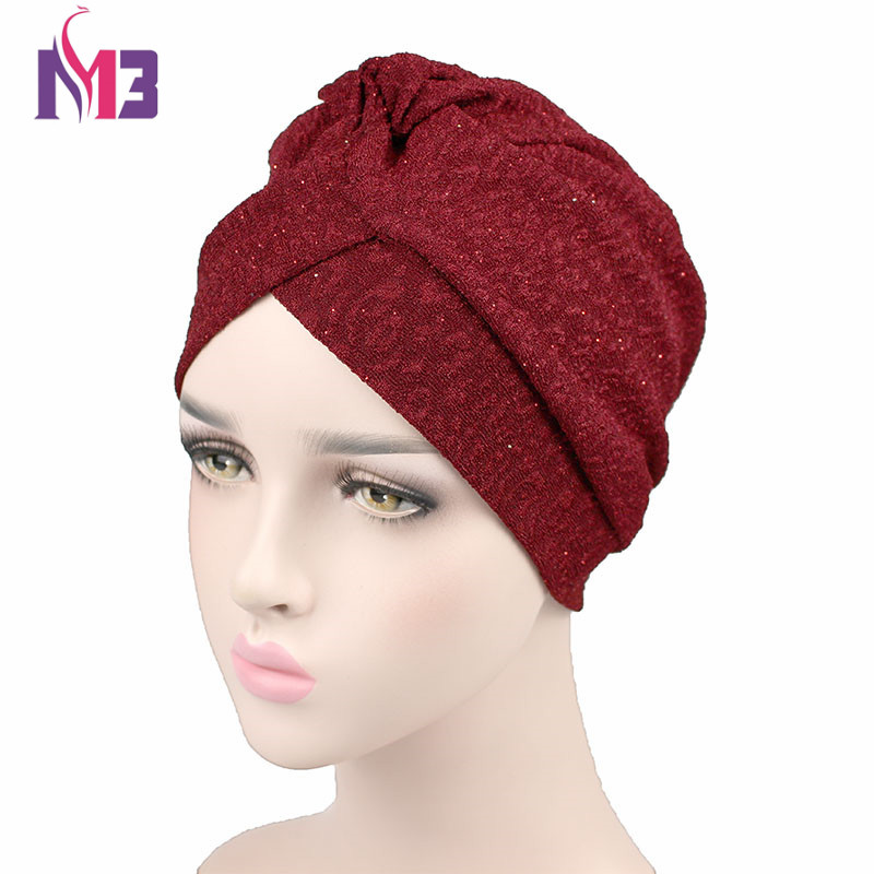 New Fashion Women Turban Breathable Vent Twist Shiny Turban Headband   Headwear   Women's Hijab Turbante Turban