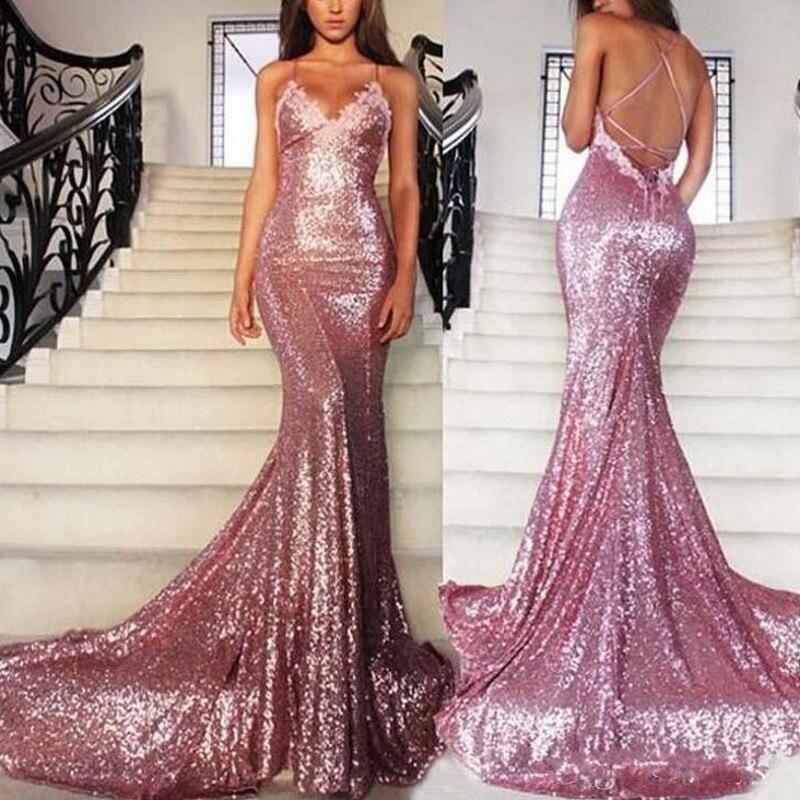 Demure Evening Dress Sequined V Neckline Mermaid Long Evening Dresses Spaghetti Off Shoulder Backless Appliques Formal Gowns