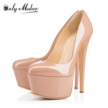 Onlymaker 6 Inches Stiletto Heels Women's 16cm Extremely High Pumps Platform Shoes Large Sizes Basic Solid Color Plus size 46