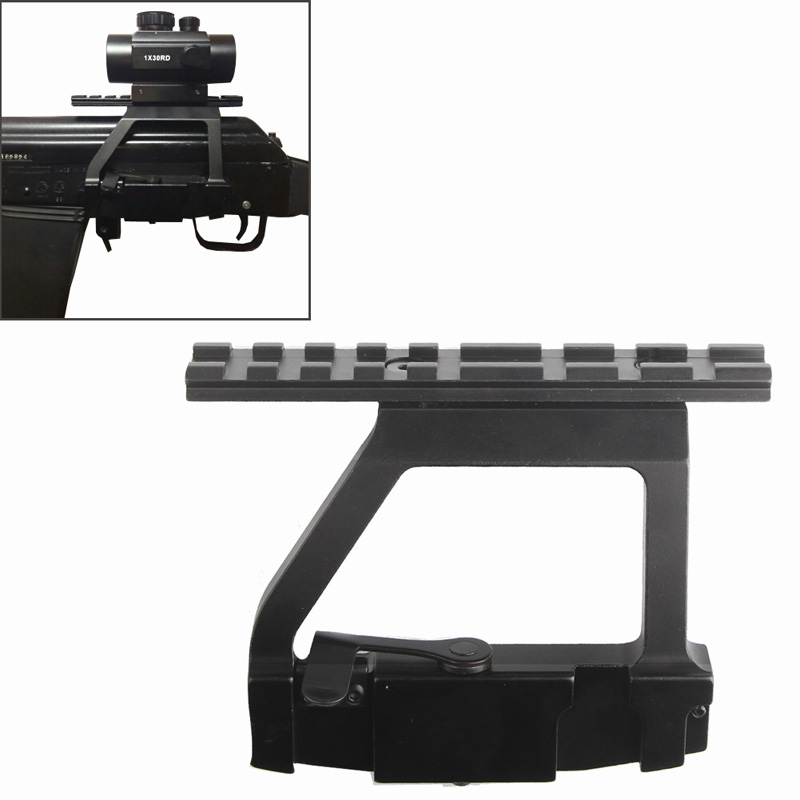 Metal Top Rail Mount AK47/ AK74 SAIGA RIFLE Airsoft Side Rail Scope Mount QD for 20mm Picatinny Rail Scope Sight RL2-0022