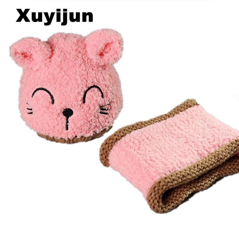 XUYIJUN2017 year brand 2 pieces / set of girls shoes boy hat scarf kit cute cat children's children skullies beanies