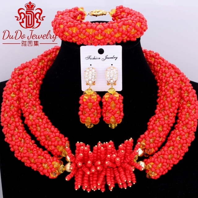 2017 Latest Red Nigerian Wedding African Beads Jewelry Sets Christmas Costume Jewelry Set 2017 Jewelry Set Hot Beads For Brides