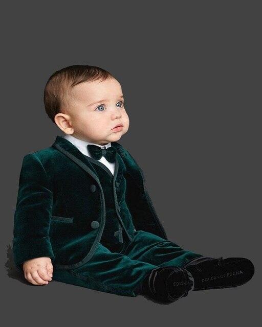 Emerald Green Velvet Custom Made Boys Wedding Suit Kids