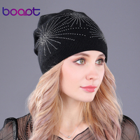 Boapt Diamond Stars Soft Wool Knitted Beanie Warm Thick Winter Hats For Women S Caps