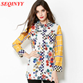 Casual Shirt 2015 New Arrival European Fashion Women's Colorful Small Flower Print Full Sleeve Yellow Turn-Down Collar Shirt