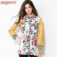 Casual Shirt 2015 New Arrival European Fashion Women's Colorful Small Flower Print Full Sleeve Yellow Turn Down Collar Shirt
