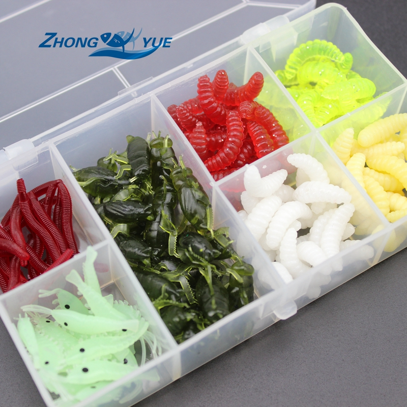 NEW 140pcs/lot Fishing Lures bread bug Earthworm shrimp insect Soft Bait Suit Set Tackle Soft Bait and Tackle Box Free shipping vissen yo zuri squid jig fishing bait shrimp yo zuri shrimp 3pcs lot isca artificial fishing lures octopus wood shrimp 7cm