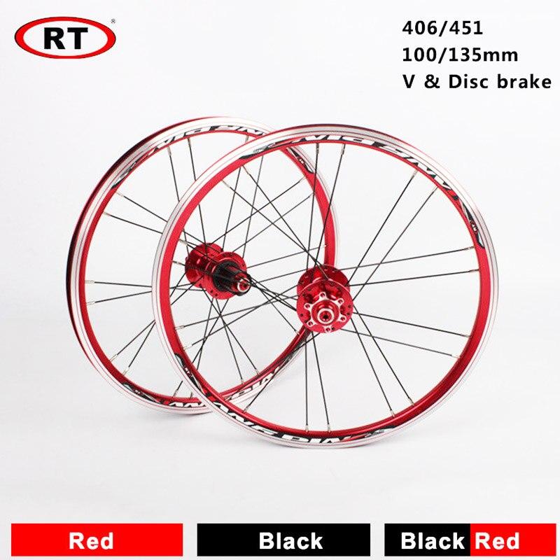 "20/"" Folding//BMX Bike Front Rear wheels set 100//135mm V/&Disc brake 451//406 Rims"