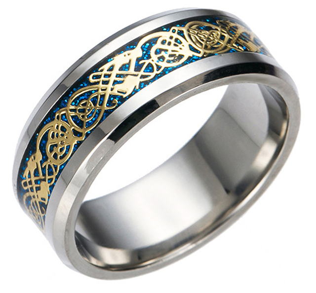 Vintage Chinese Dragon Tungsten steel Golden Ring for Men lord