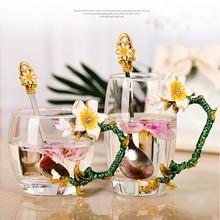 Креативная термостойкая Хрустальная стеклянная кружка, эмалированная стеклянная кружка, цветочный чайный набор, кофейная чашка, водная посуда для напитков молока кофе в подарок