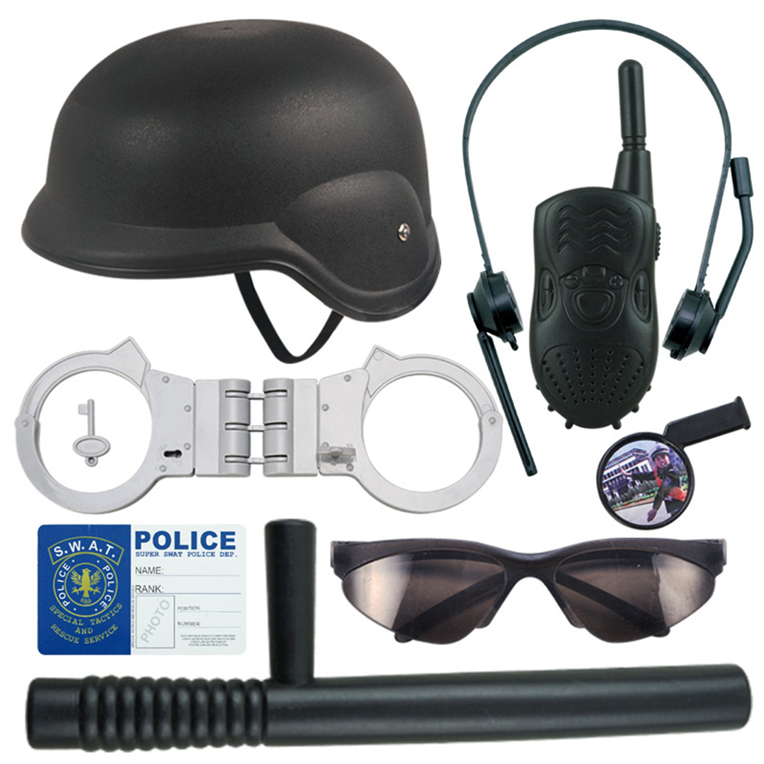 UTOYSLAND 8Pcs Children Role Play Police Kit Cop Dress-Up Playset Hat Walkie Talkie Handcuffs Set Toys Boys Police Baton Emblem