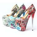 Bordado de la vendimia de Las Bombas Del Partido Zapatos Con Tacón Alto de Las Mujeres de Boho de Noche Atractivo Del Club de Tacones Súper Altos Zapatos de Cuero Talla 34-43