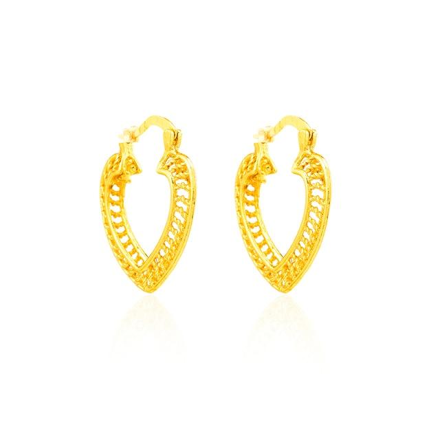 Ethlyn coeur pendentifs et boucles doreilles ensemble 22 k or jaune rempli plaqué romantique amour bijoux mariage mariée ensembles cadeau, S018