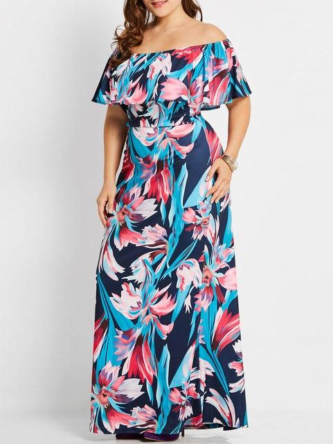 Kenancy Women Plus Size Floral Maxi Long Dress Tropical Off Shoulder Short  Sleeves Ruffles Dresses Casual 2cf56a707001