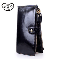 Europe And The United States Fashion First Layer Of Leather Multi Color Long Wallet Large Capacity