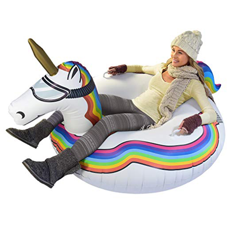 0.5mm PVC Giant Unicorn Winter Snow Tube Flamingo Pool Float For Children Adult Summer Party Ride-On Swim Ring Inflatable Toys