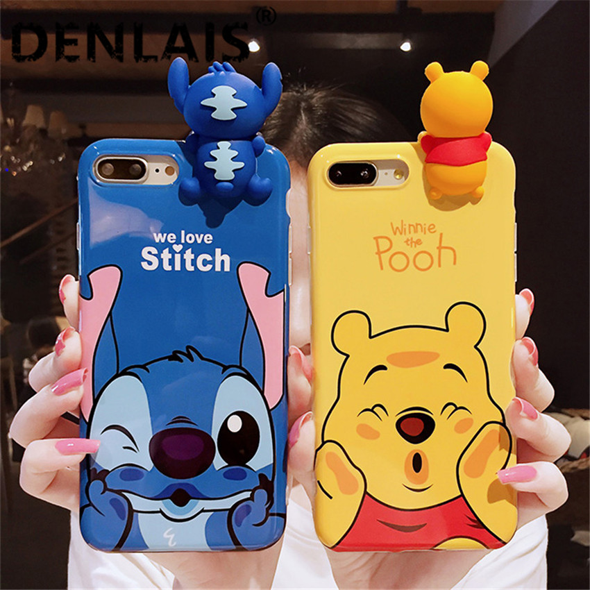 353802c8995 Funda de teléfono suave Linda 3D Stitch Winnie Bear dibujos animados para  iphone 6 S 6 7 8 Plus funda de silicona brillante funda para iphone 7 7 Plus  X