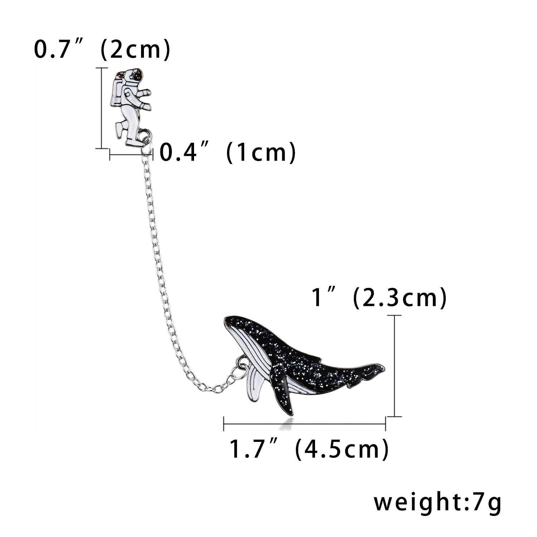 Rinhoo Galaxy Monn Astronot Fuji Gunung Telur Rusa Whale Anjing Hewan Rumbai Pin Bros Lencana untuk Wanita Pria Lucu Pin