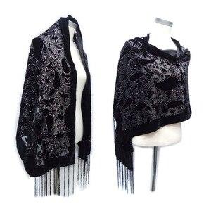 Image 1 - グリッターカシューヒジャーブスカーフベルベット黒スカーフ女性のためのイスラム教徒のギフトパシュミナ冬ポンチョスペインショール送料無料