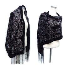 Glitter Cashew Hijab Scarf Velvet Black Scarfs For Ladies Muslim Gift Pashmina Winter Poncho Spain Shawl Free Shipping