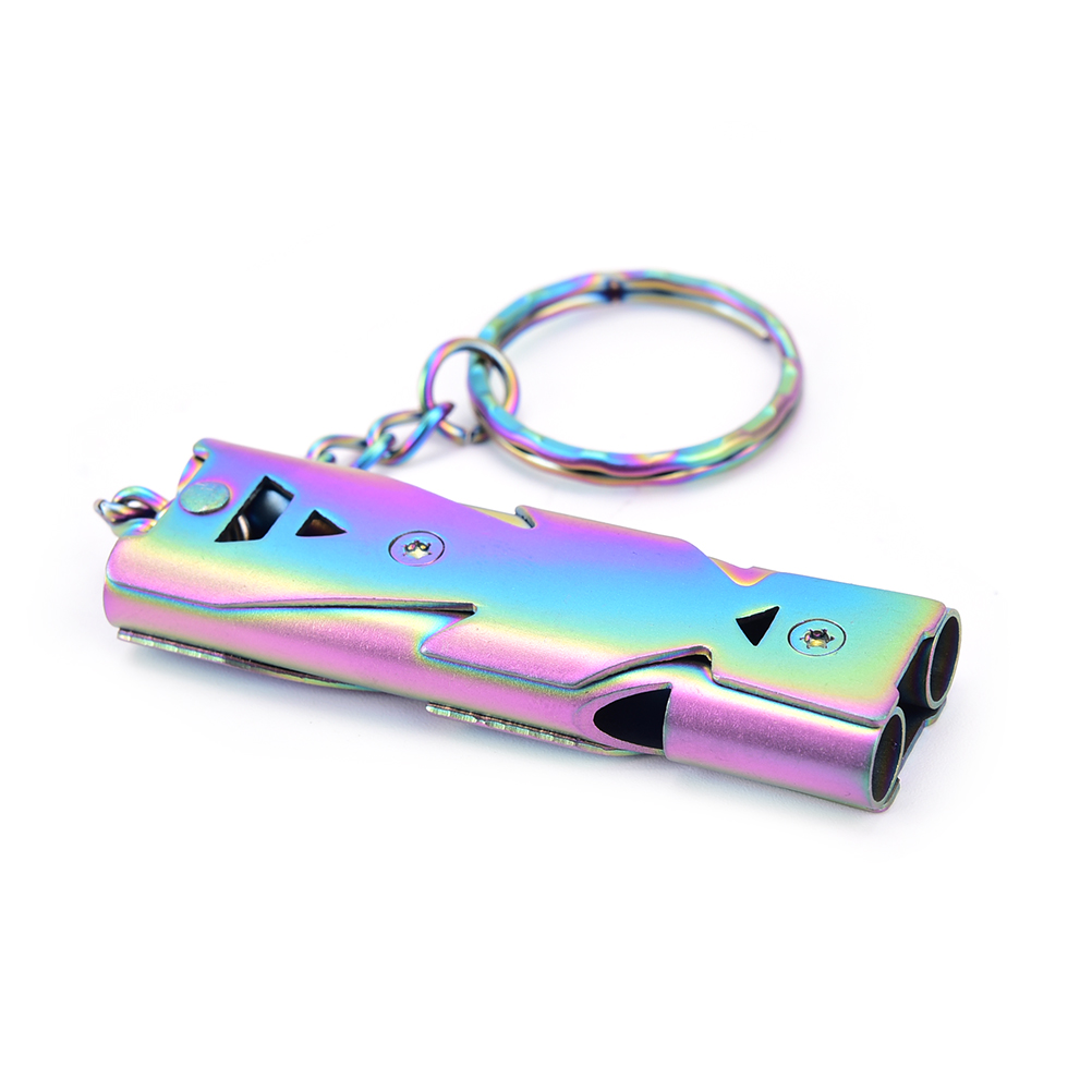 1PCS Outdoor Emergency Survival Whistle Double Pipe High Decibel Stainless steel Keychain Cheerleading Whistle