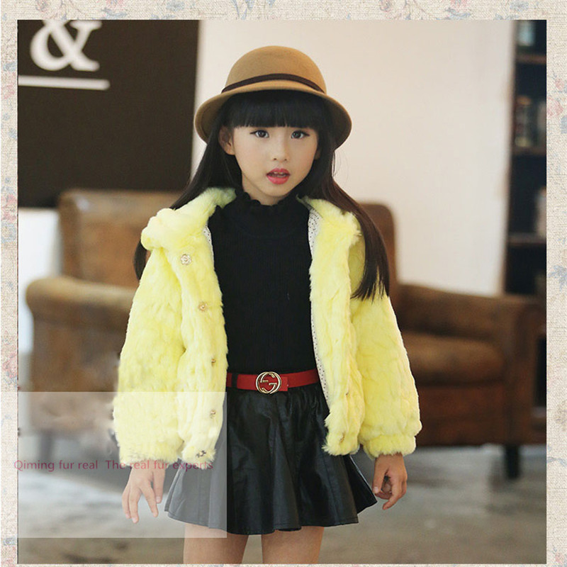 New 2016 Fashion Children Rabbit Fur Coat Autumn Winter Baby Warm Short Thick Clothes Girls Clothing Fur Jacket Free shipping 5615 new fashion children natural fur jacket boy