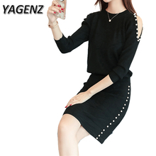 YAGENZ 2-piece Set Women Knitwear Sets Autumn Slim Sexy O neck Pullover Tops+skirt Two-piece Sweater Knitting Fashion Suit Sets
