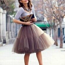 5 слоев 55 см пачка Тюлевая юбка Винтаж плиссированные юбки миди Женская юбка-американка платье для свадебной церемонии, faldas Mujer saias Jan25