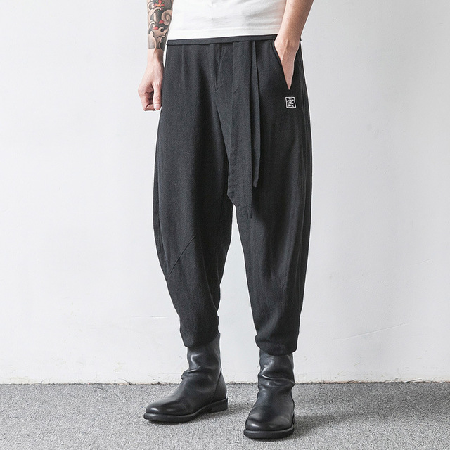 Men Spring Chinese Style Embroidery Linen Casual Pants Men Fashion Autumn Male Loose Harem Pant Men Cross Pant Trousers K414