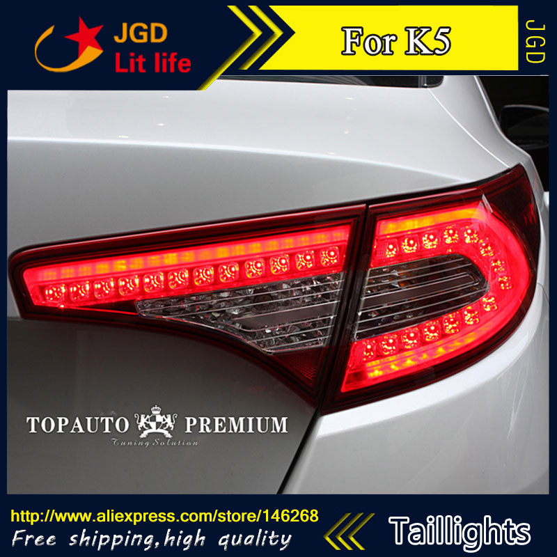 Car Styling tail lights for KIA K5 2010-2014 LED Tail Lamp rear trunk lamp cover drl+signal+brake+reverse car styling tail lights for ford ecopsort 2014 2015 led tail lamp rear trunk lamp cover drl signal brake reverse