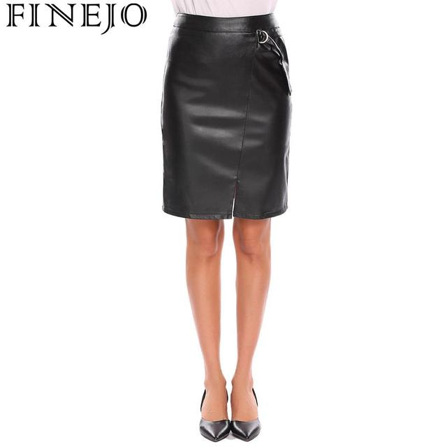 FINEJO Women Skirt Sexy PU Party Split Casual Synthetic Leather Solid High Waist