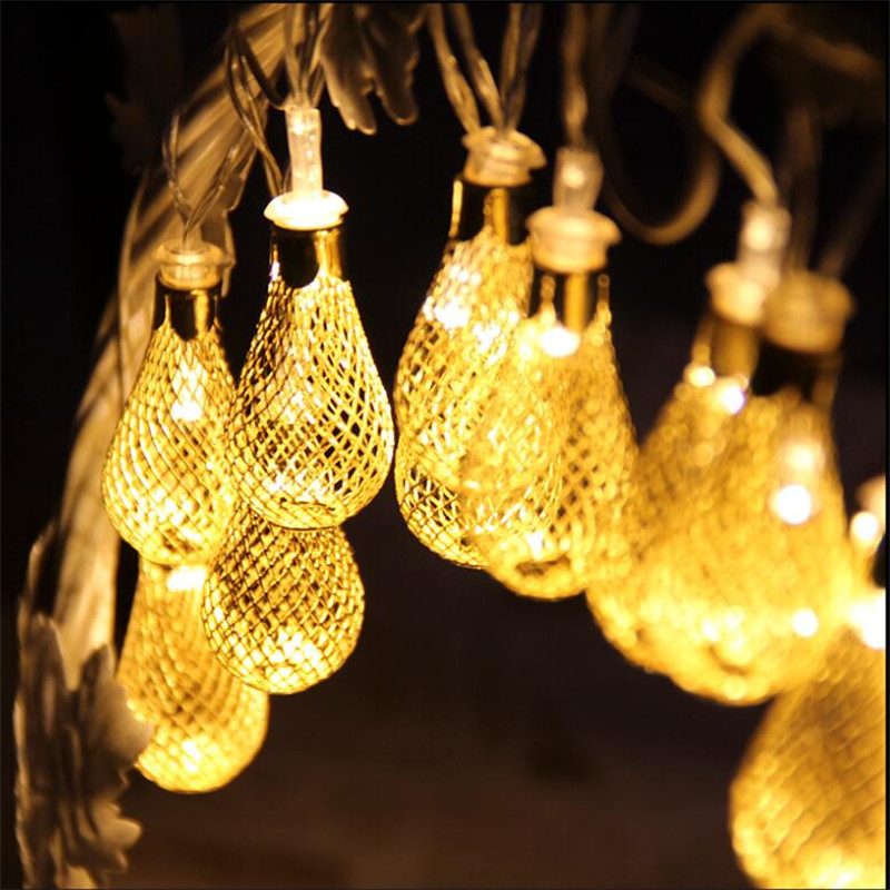 Warm White 4M 20 Led Fairy String Light  AC220V/110V Iron Ball Teardrop Decorative Rope For Indoor Outdoor Party