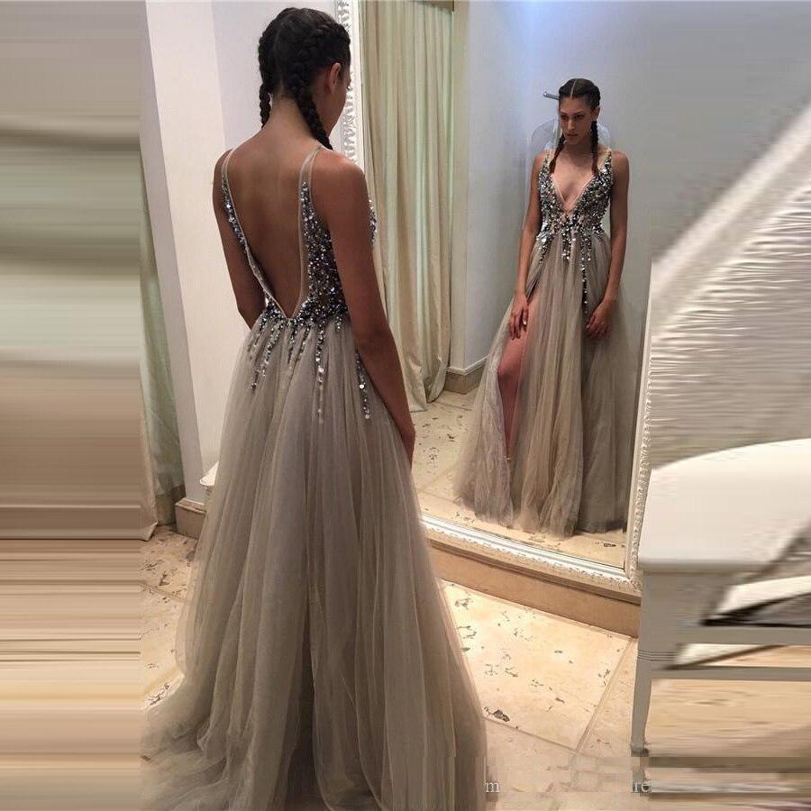 New Arrival Long Dress Tulle Gray Beaded Vestidos Para Festa Sexy Slit Dresses Sleeveless Gown Deep