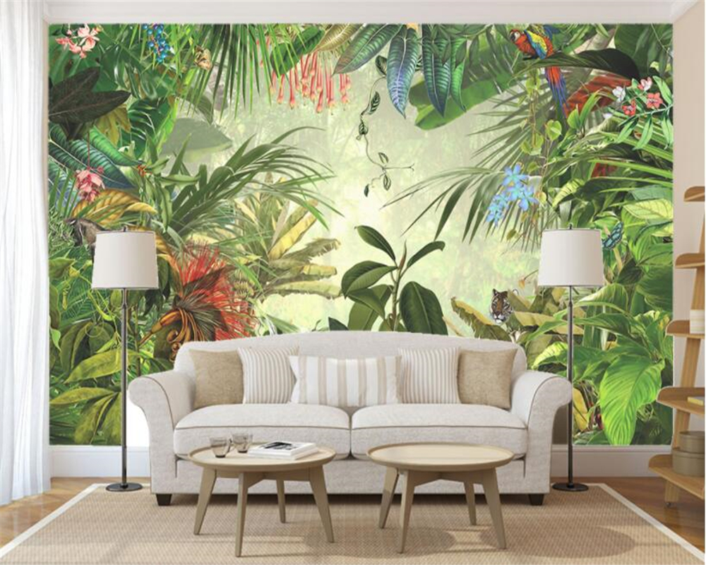 beibehang wallpaper tropical rainforest banana leaf flower bird 3d wallpaper living room