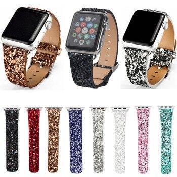 כוח נצנצים חג המולד מבריק עור בלינג יוקרה סדרת שעון iWatch בנד שעוני יד צמיד רצועה עבור Apple 3/2/1 38 מ