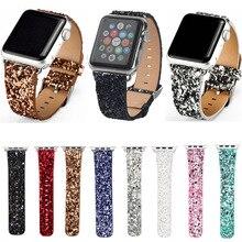 Рождество блестящие Мощность Кожа Bling Роскошные iwatch Группа наручные часы браслет ремешок для Apple Watch Series 3/2/ 1 38 мм 42 мм