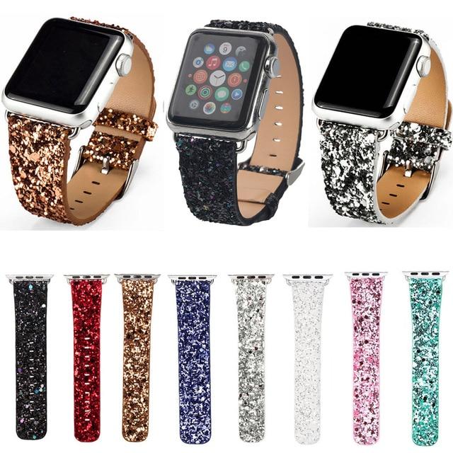 Kerst Glitter Power Lederen Bling Iwatch Band Horloge Armband Strap Voor Apple Horloge Serie 5/4/3/2/1 38Mm 40Mm 42Mm 44Mm