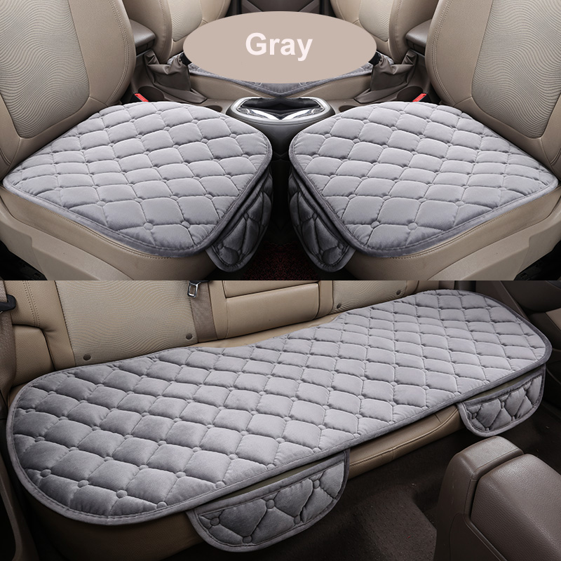 KOWELL 3PCS Front Rear Universal Velvet Autum Winter Car Seat Cushion Pad Cover Case Auto Driver Warmer Support Back Seats New