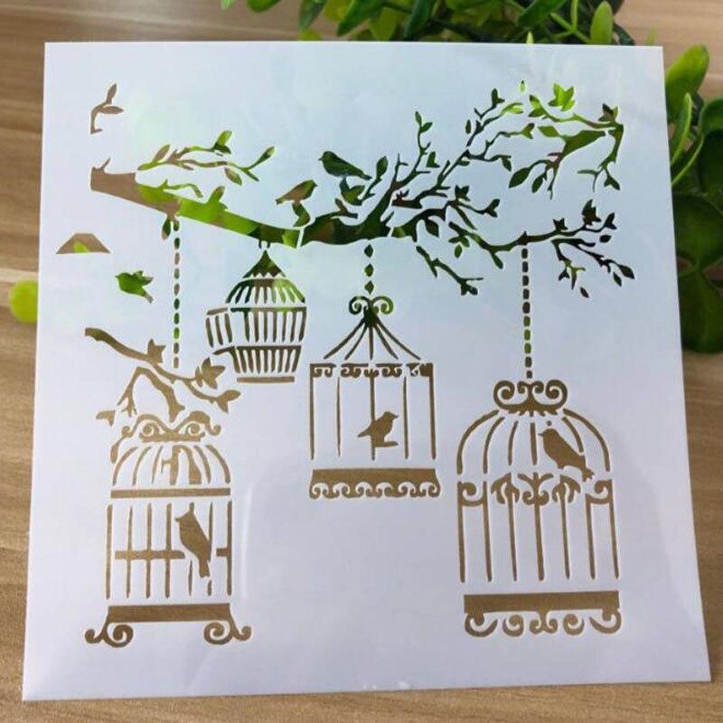 1 Pc Caged Vogel Schablonen Kugel Journal Diy Vorlagen Malerei Relief Kunst Handwerk Scrapbooking Karten Album Schablone Für Wand Dekor