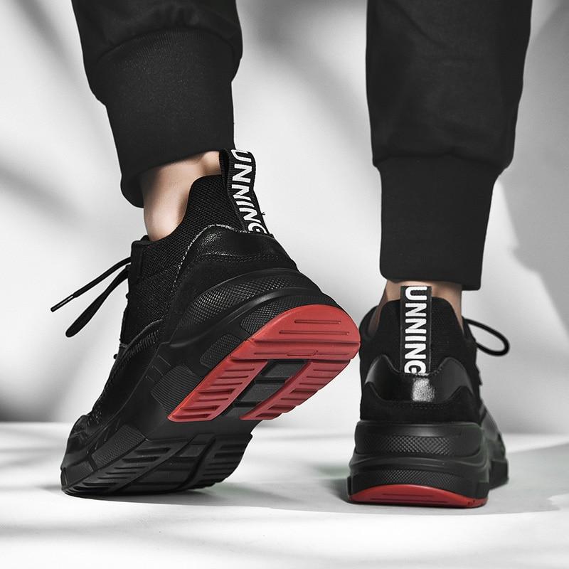 confortevoli cuciture da piedi casuali e leggeri con Surom pelle Scarpe in in in traspiranti nero a traspiranti mesh uomo di Sneakers qzt4awx